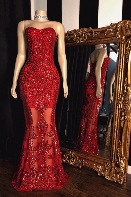 Fantastic Strapless Sweetheart Red Long Prom Dress Sexy See Through Appliques Party Dresses Online