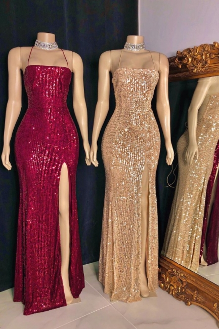 Sexy Spaghetti Straps Sequins Mermaid Prom Dress Sleeveless Criss-cross Back Evening Dresses with Front Slit