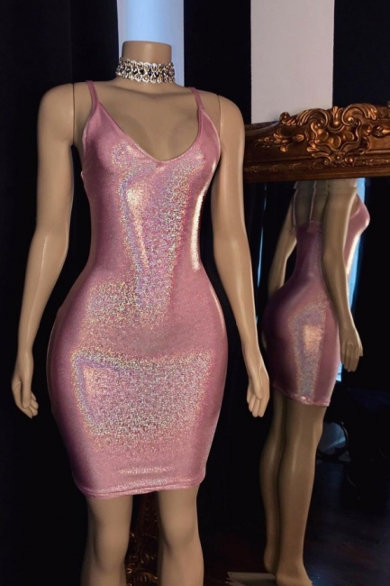 Glamorous V-Neck Pink Bodycon Short Prom Dress Sexy Spaghetti Straps Sparkly Sequins Party Dresses Online