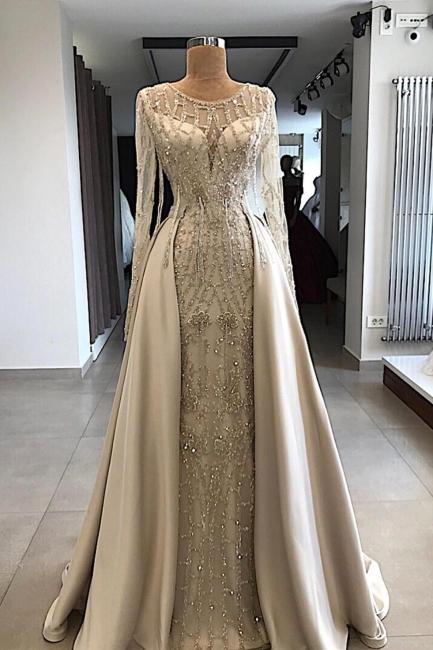 Fantastic Jewel Long Sleeves Beaded Prom Dress Mermaid Rhinestones Formal Dresses with Overskirt