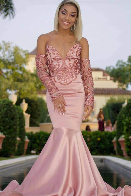 Gorgeous V-Neck Beading Pink Mermaid Prom Dress Strapless Long Sleeves Appliques Party Dresses On Sale