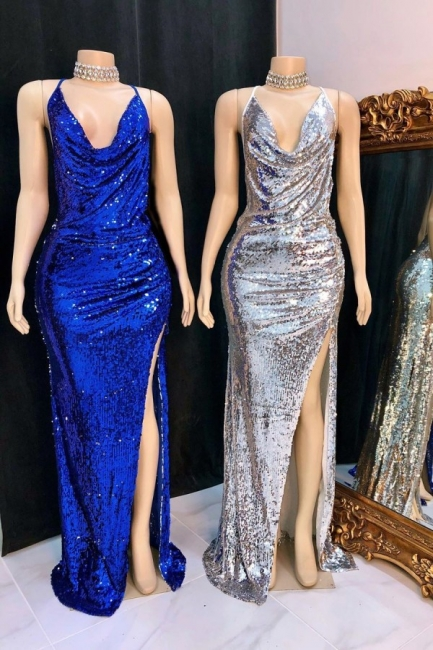 Elegant Draped Neckline Spaghetti Straps Prom Dress Sexy Sequined Long Evening Dresses with High Slit