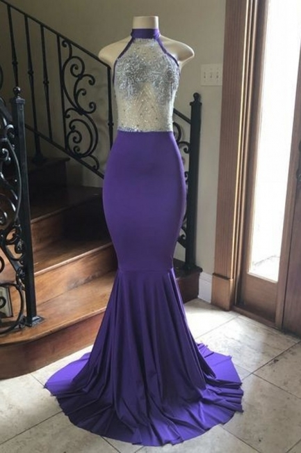 Modest High Neck Mermaid Floor Length Prom Dress Sexy Sheer Top Party Dreses Online