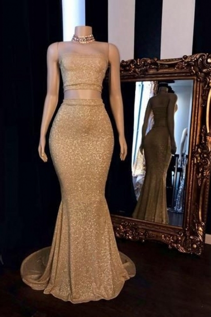 Gorgeous Two Piece Strapless Mermaid Prom Dress Sparkly Gold Sequins Formal Dresses Online