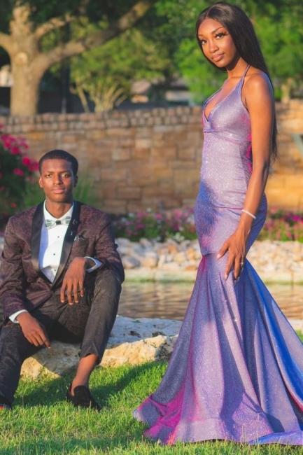 Exquisite Halter V-Neck Purple Metallic Prom Dress Mermaid Floor Length Formal Dresses Online