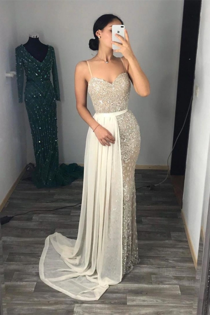 Fantastic Spaghetti Straps Sweetheart Prom Dress Sparkly Sequins Sleeveless Evening Dresses with Detachable Train