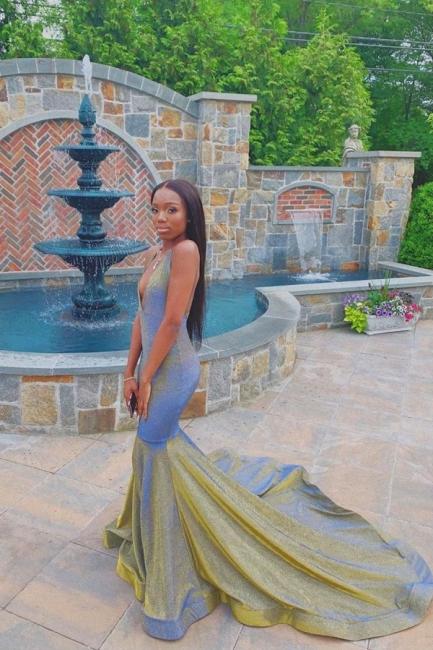 Glamorous Halter V-Neck Mermaid Prom Dress Floor Length Metallic Evening Dresses On Sale