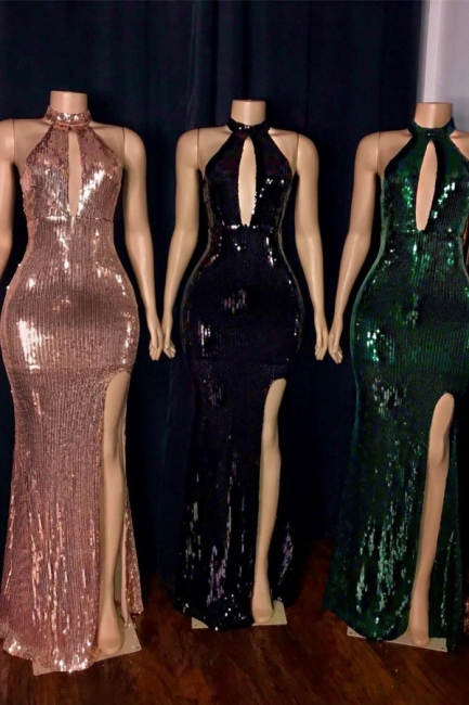 Modest High Neck Heyhole Floor Length Prom Dress Sexy Slit Fitted Sequined Evening Dresses On Sale