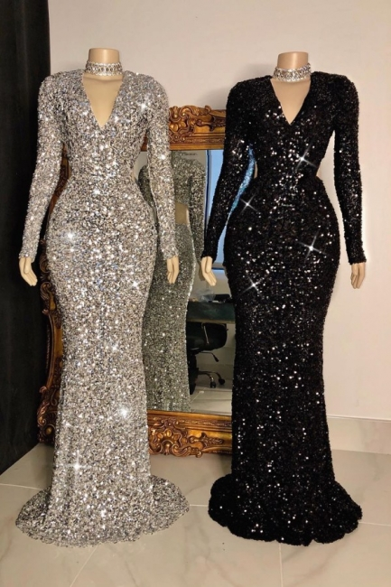 Modest V-Neck Long Sleeves Mermaid Prom Dress Sparkly Sequined Party Dresses with Rhinestones