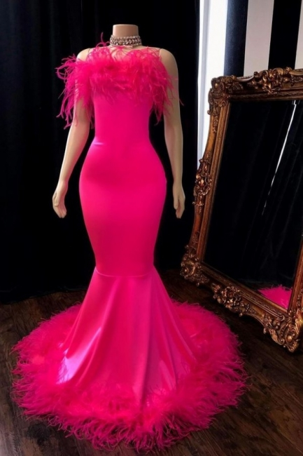 Stunning Spaghetti Straps Hot Pink Prom Dress Mermaid Sleeveless Evening Dresses with Fur Trimmed