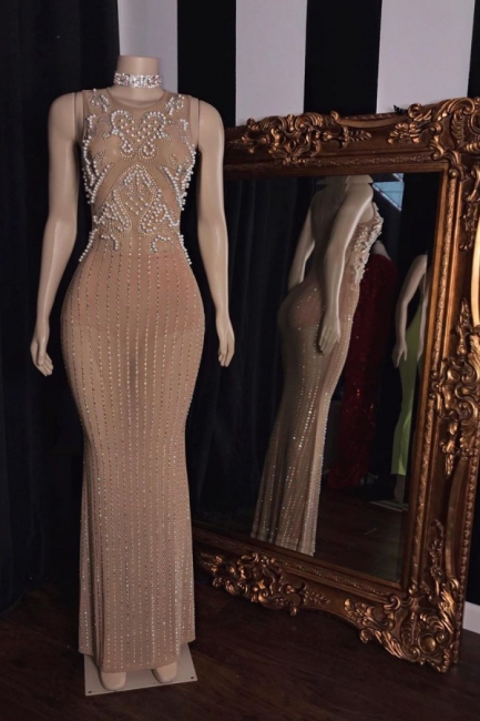 Modest Jewel Beaded See-Through Prom Dress Sleeveless Long Party Dresses with Pearls