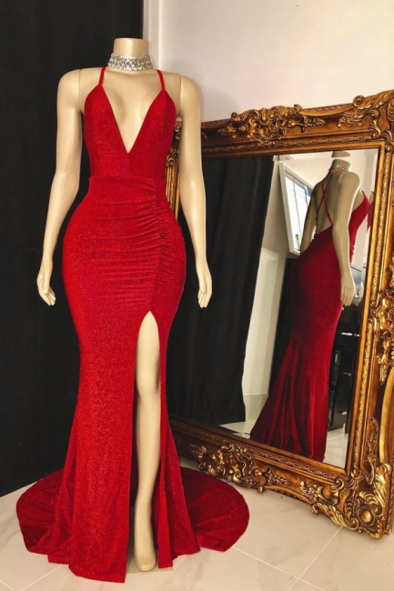 Modest Spaghetti Straps Deep V-Neck Prom Dress Sleeveless Slit Red Long Party Dresses On Sale
