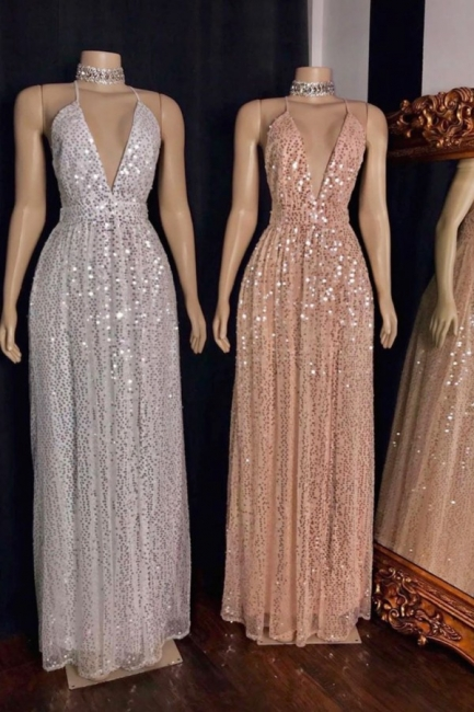 Exquisite Spaghetti Straps Deep V-Neck Prom Dress Stunning Sequined A-Line Long Formal Dresses