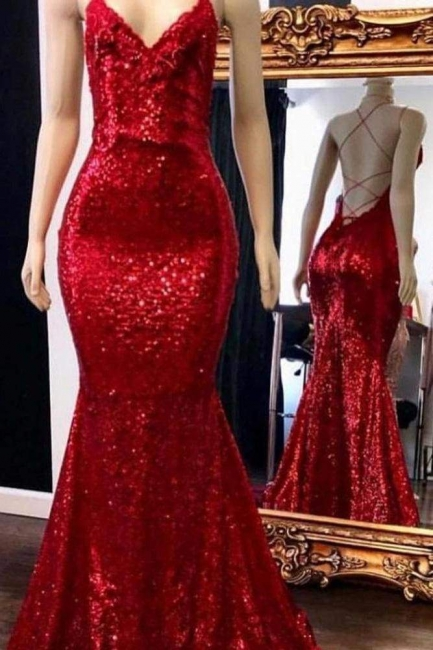 Sexy V-Neck Spaghetti Mermaid Long Prom Dress Sparkly Sequins Sleeveless Party Dresses Online