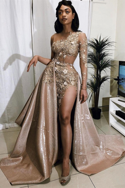 Exquisite Jewel Long Sleeves Sheer Prom Dress Appliques A-Line Formal Dresses On Sale