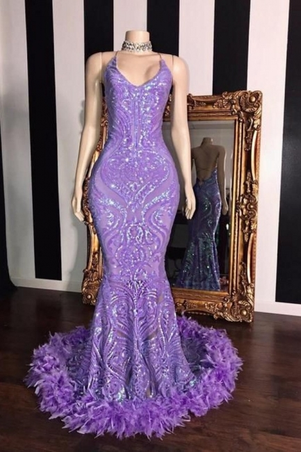 Gorgeous Spaghetti Straps Lilac Long Prom Dress Sequined Mermaid Evening Dresses with Fur Trimmed