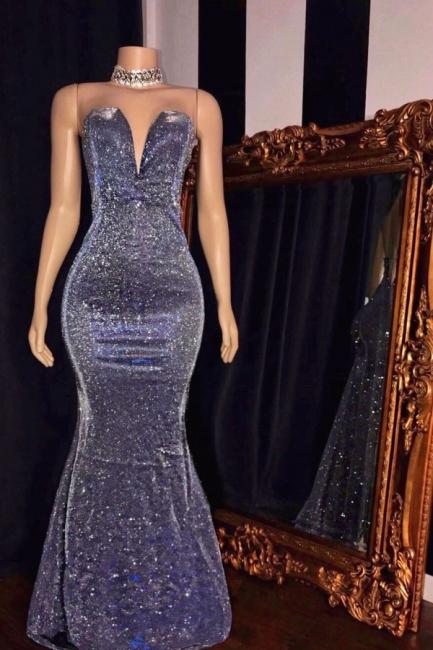 Elegant Strapless V-Neck Mermaid Prom Dress Floor Length Metallic Evening Dresses On Sale