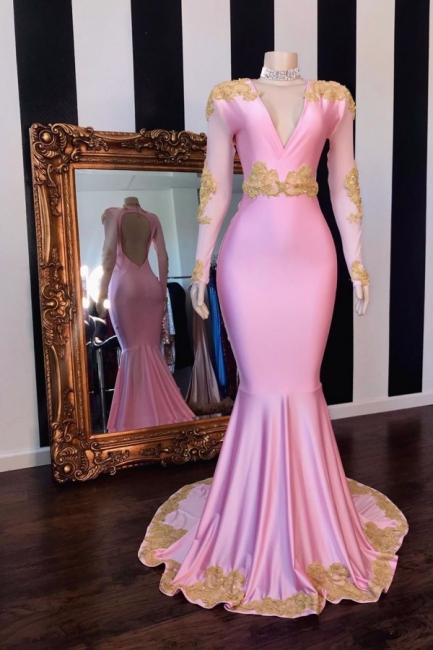 Affordable Pink V-Neck Appliques Prom Dress Long Sleeves Mermaid Evening Dresses On Sale