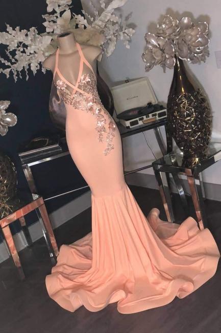 Affordable Pink Halter Floor Length Mermaid Prom Dress Floral Appliques V-Neck Formal Dresses Online