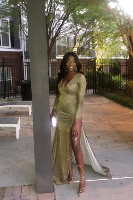 Glamorous V-Neck Thigh Slit Ruffle Prom Dress Long Sleeves Sequins Formal Dresses Online