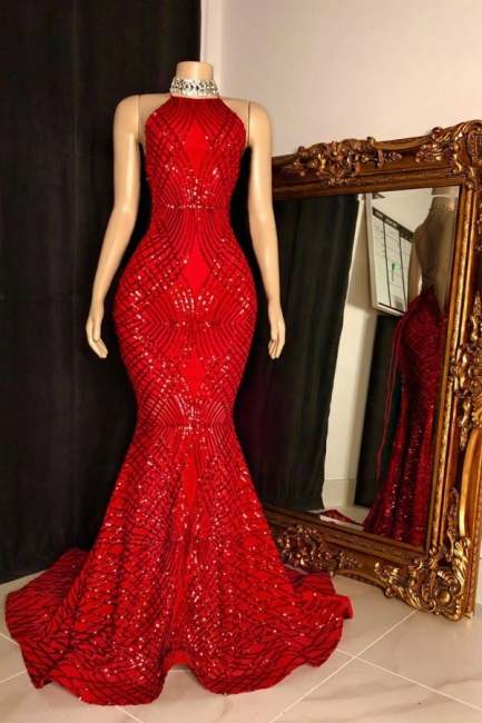 Sexy Halter Sleeveless Red Long Prom Dress Sequin Mermaid Formal Party Dresses On Sale