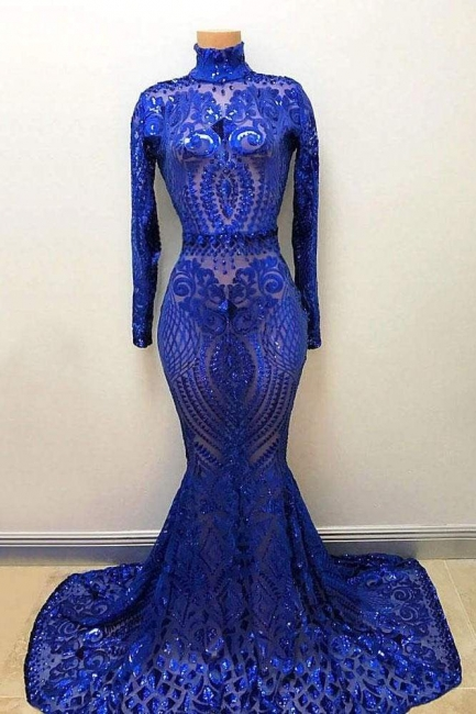 Affordable High Neck Long Sleeves Prom Dresses Crystal Beading Appliques Mermaid Evening Dresses