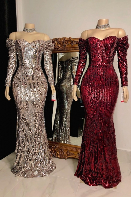 Sexy Off-the-Shoulder Floor Length Prom Dress Long Sleeves Sequins Party Dresses Online