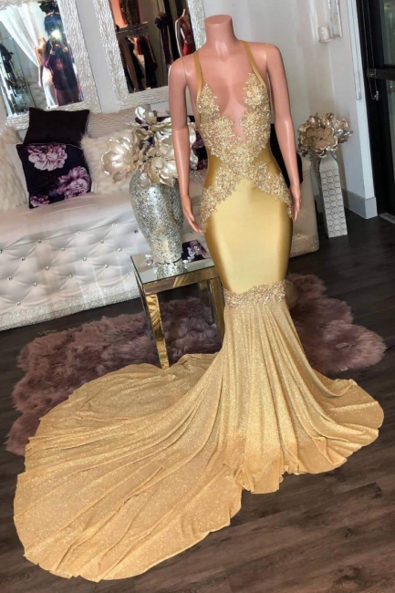 Stunning Spaghetti Straps Mermaid Gold Prom Dress Sexy V-Neck Appliques Sleeveless Formal Dresses On Sale