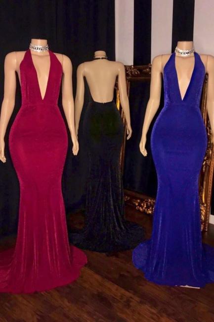 Elegant Halter Deep V-Neck Prom Dress Sleeveless Sheath Floor Length Evening Dresses On Sale