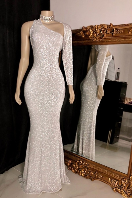 Elegant One-Shoulder Silver Mermaid Prom Dress One-Sleeve Sparkly Sequins Formal Dresses On Sale