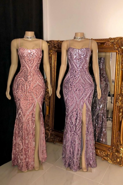 Chic Spaghetti Straps Sweetheart Prom Dress Sparkly Sequins Party Dreses with Front Split On Sale