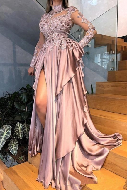 Stunning High Neck Rhinestones Pink Prom Dress Long Sleeves Side Slit Formal Party Dresses Online