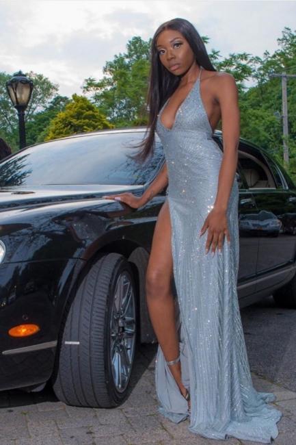 Sexy Halter Deep V-Neck Long Prom Dress Sparkly Sequins High Slit Party Dresses On Sale