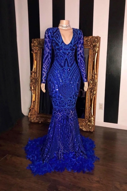 Sexy Royal Blue V-Neck Long Prom Dress Long Sleeves Mermaid Formal Dresses with Fur