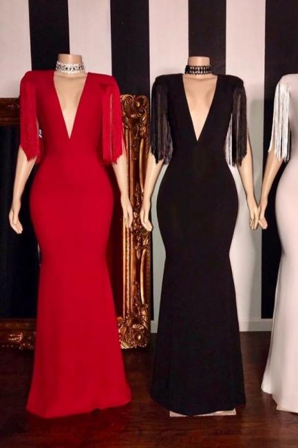 Exquisite Deep V-Neck Long Prom Dress Fringes Sleeves Formal Party Dresses Online