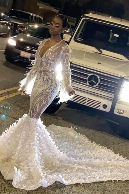 Sexy See-through V-Neck Mermaid Prom Dress Long sleeves Formal Dresses with Train On Sale