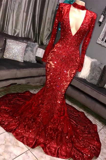 Beautiful Mermaid Sleeved Prom Dress Deep V-neck Party Gowns With Lace Applique