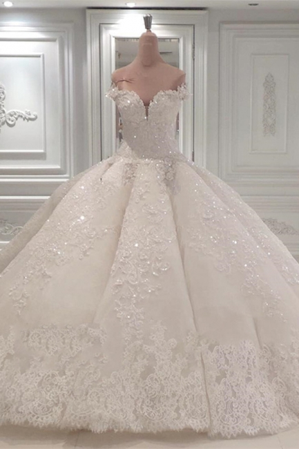 Luxurious Sweetheart Off-the-Shoulder Wedding Dresses Sleeveless Bridal Gown with Rhinestones Online