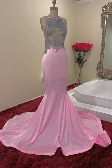 Simple Jewel Sheer Mermaid Pink Prom Dress Sleeveless Appliques Formal Dresses On Sale