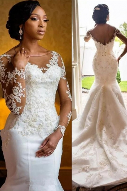 Gorgeous Jewe Lace Mermaid White Wedding Dresses Long Sleeves Appliques Bridal Gowns Online