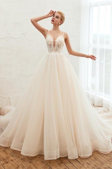 Sexy Spaghetti Straps V-Neck Ivory Wedding Dress Romantic Sleeveless  Bridal Gowns Online