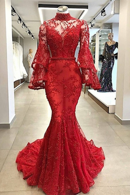 High Neck Long Sleeves Mermaid Beading Applique Chapel Train Prom Dress