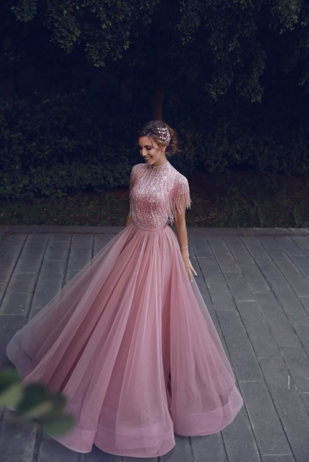 Stunning Jewel A-Line Ruffles Pink Prom Dress Short Sleeves Floor Length Party Dresses with Tassels