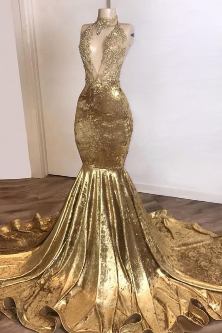 Simple Halter V-Neck Lace Brown Prom Dress Sleeveless Appliques Mermaid Party Dresses On Sale
