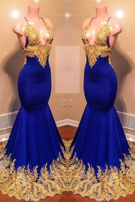 Appliques Spaghetti Summer Sleeveless Sexy Low Cut Trumpet Prom Dresses | Suzhou UK Online Shop