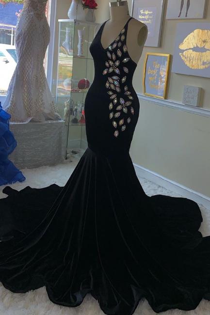 Gorgeous Spaghetti Straps V-Neck Sleeveless Prom Dress Rhinestone Mermaid Black Party Dresses Online
