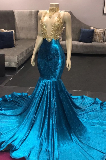 Affordable Spaghetti Straps V-Neck Lace Royal Blue Prom Dress Appliques Mermaid Sleeveless Evening Dresses on Sale