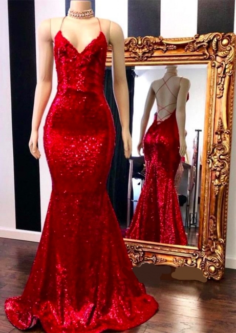 Gorgeous Spaghetti Straps V-Neck Mermaid Prom Dress Sparkly Red Sequined Sleeveless Evening Gowns