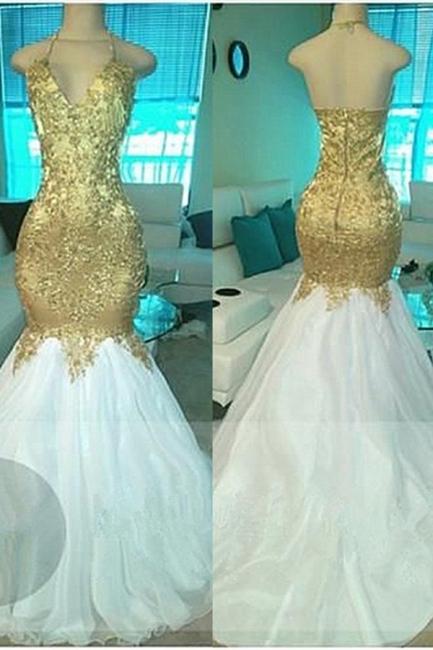 Gold Beading V-neck Halter Prom Dresses  Open Back Sexy Mermaid Popular Evening Gown BA5332-MQ0027