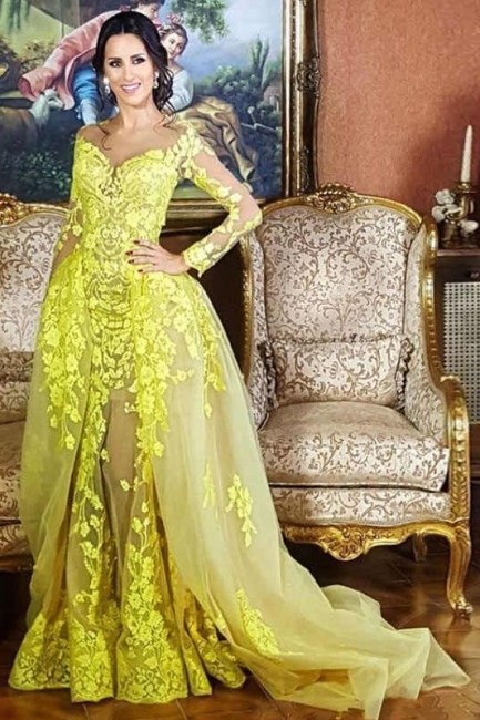 Glamorous Jewel Long Sleeves Yellow Prom Dress Appliques Formal Party Dresses with Train